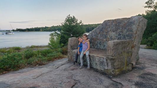 Giant stone chair, Beausoleil Island, Ontario