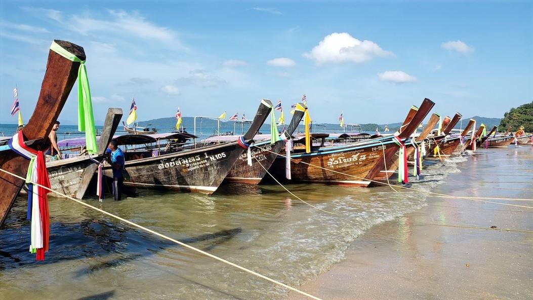 Long tail boats in Ao Nang Beach, Thailand