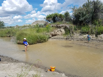 Camping by the river with kids at Dinosaur Provincial Park