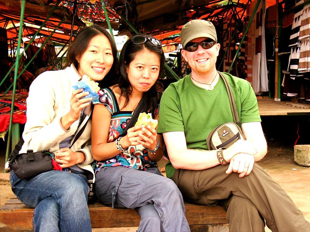 Eating sandwiches in Luang Prabang