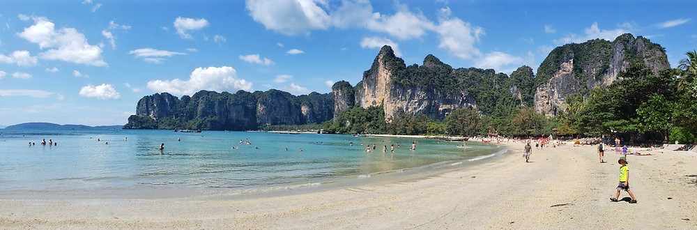 Limestone mountains on Railay Beach, Krabi, Thailand