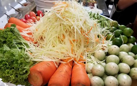 Papaya Salad made fresh, in Bangkok, Thailand