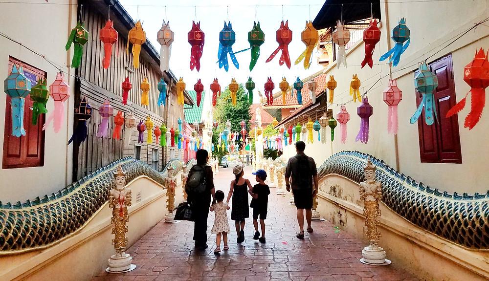 Colourful lanterns adorn Buddhist temples in Chiang Mai,Thailand