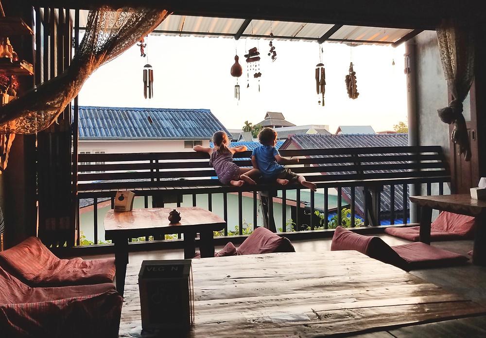 AUM restaurant at sunset
