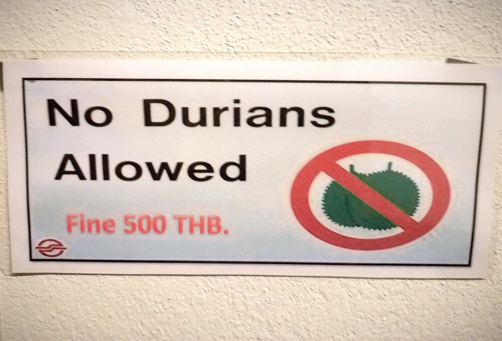 At sign forbidding Durian fruit in the hotel room