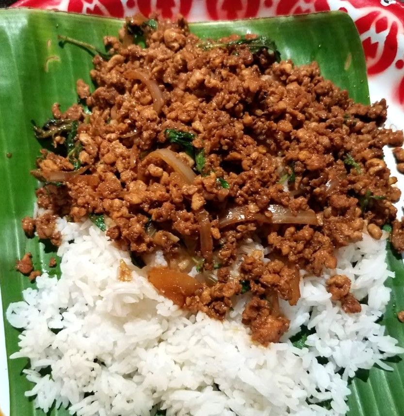 Rice with pork  and basil,  A spicy Thailand dish