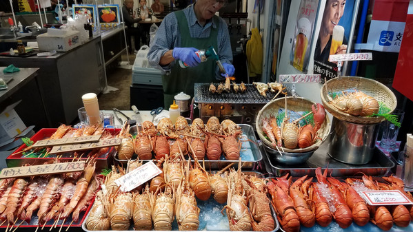 Fresh seafood in Kuromon Market, Osaka