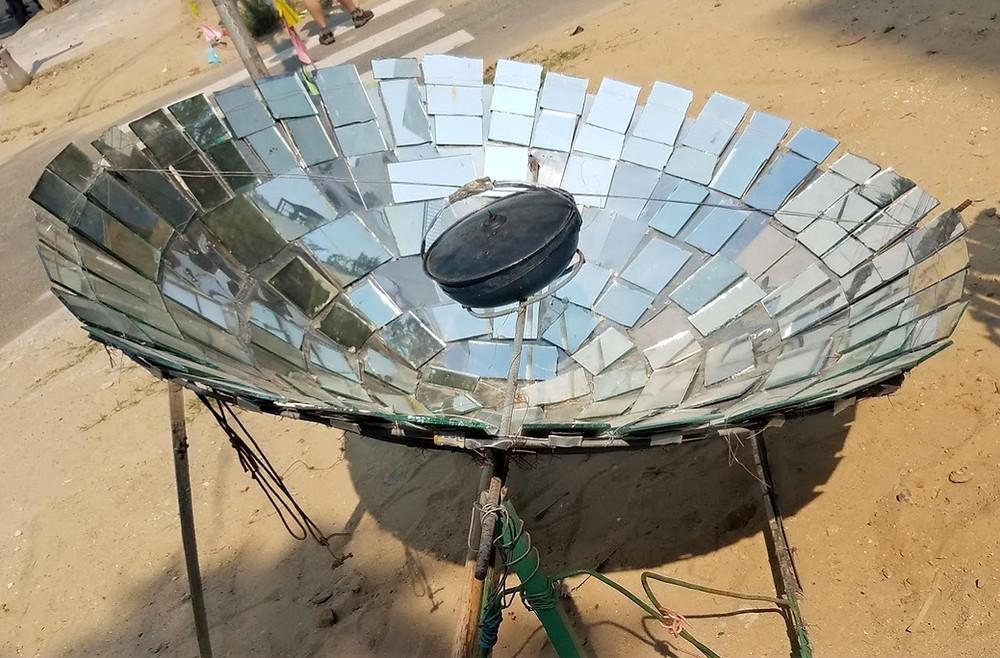 Parabolic solar cooker in Vietnam