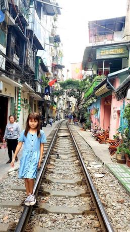 Train Street, Hanoi, with kids