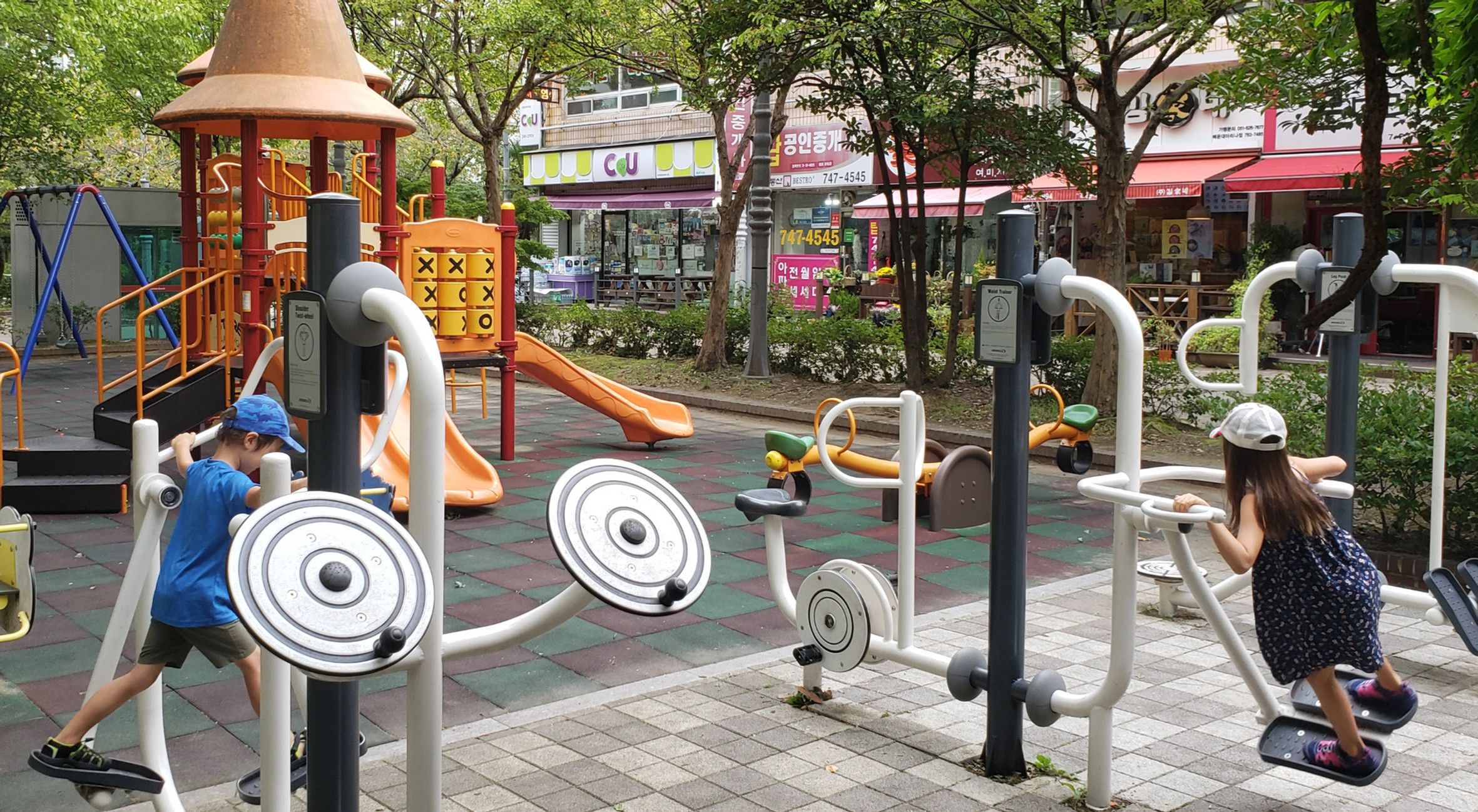 Exercise machines by playgrounds