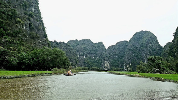 Tam Coc mountains and rice fields