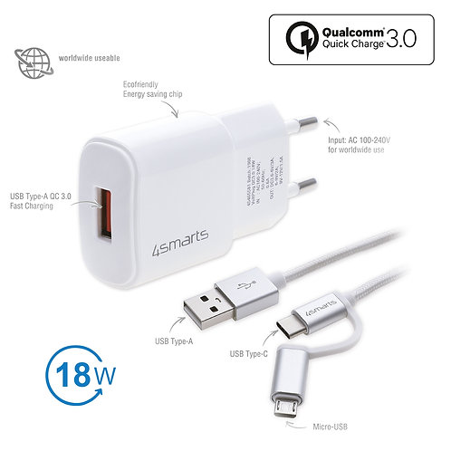 4smarts Netzladegerät VoltPlug QC3.0 18W mit Quick Charge und ComboCord