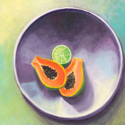 Papaya and Lime in a Bowl