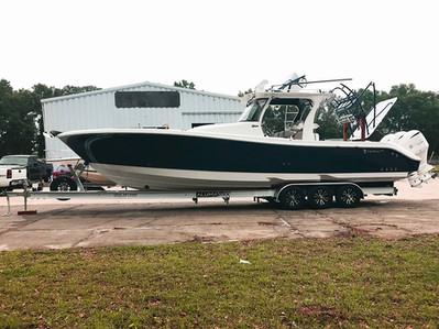 2017 Edgwater 368 on an AlumaTrek Boat Trailer