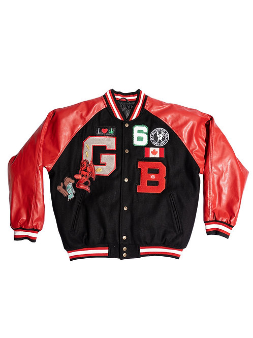 """Canada"" Varsity Jacket With Leather Back Design"