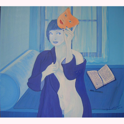 Maske in Blau (mit Texten nach Marquis de Sade) 100 x 100cm, 10.2006