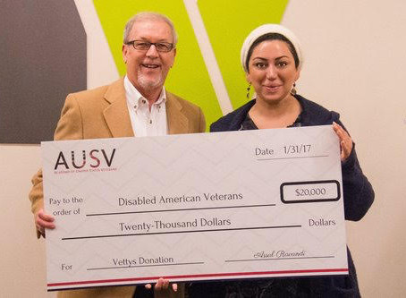 ACADEMY OF UNITED STATES VETERANS DONATED $20,000 TO EXE DIRECTOR OF DISABLED AMERICAN VETERANS