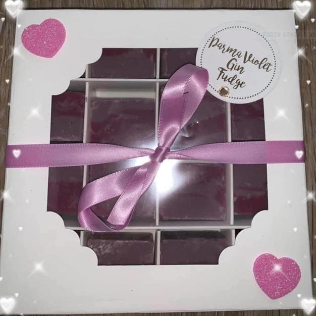 Parma Violet Gin Fudge Boxes and Bags