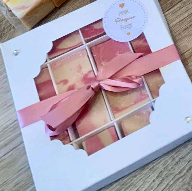 Pink Prosecco Fudge Boxes and Bags