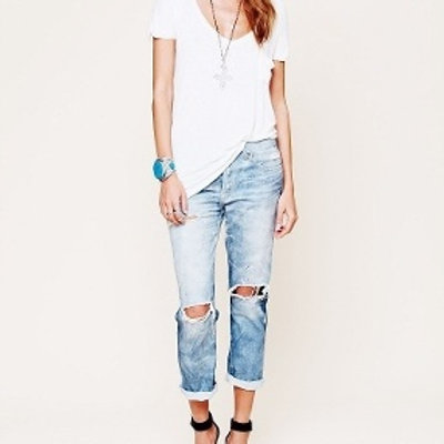 Ripped Pencil Jeans