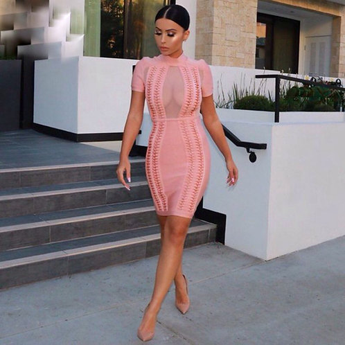 High Neck Bandage Dress