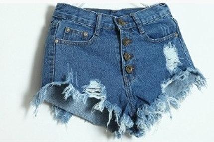 Button Hole Denim Shorts