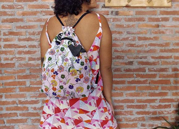 Mochila Saco Dupla Face Floral