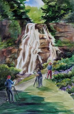 Painting at Delphi Falls