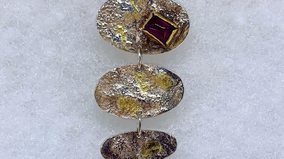 Reticulated Silver Ruby Bar Pendant