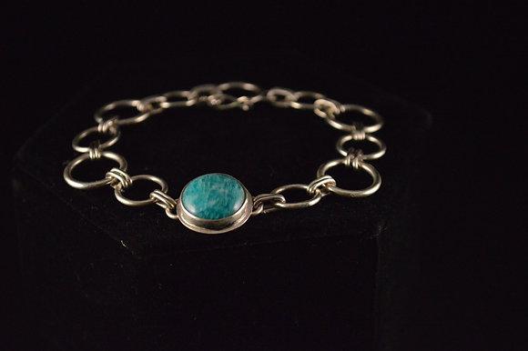 Amazonite bracelet with safety catch