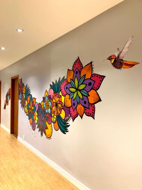 florais na parede