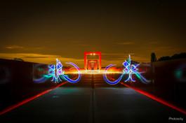 Pont rouge de Cargy en light painting