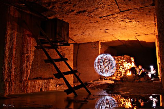 Boule light painting dans le Val d'Oise