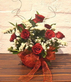 Basket of local red roses