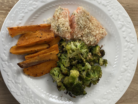 Lemony Panko Crusted Salmon with Roasted Sweet Potatoes and Broccoli