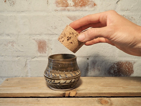 Cookies and cream carved jar with cork