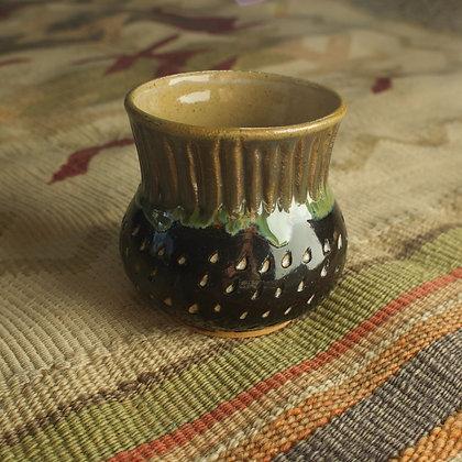 Green and Black Carved Vase