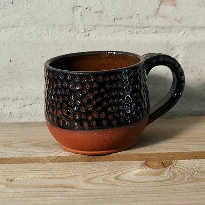 Carved Redstone/Black Underglaze Mug