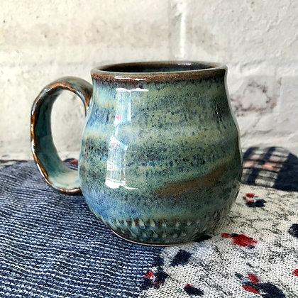 Blue Carved Drippy Mug