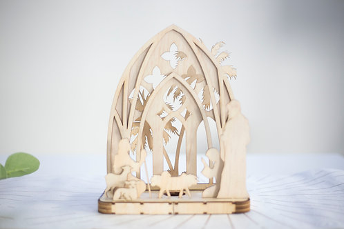 Pop Up Plywood Candle light Nativity Scene