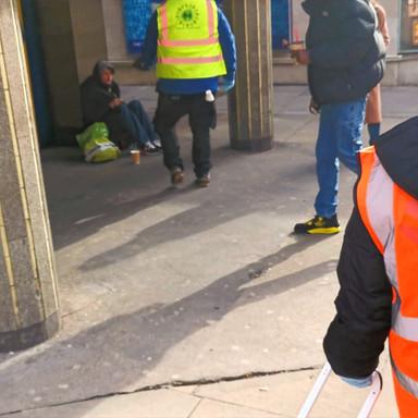 Volunteers helping the homeless