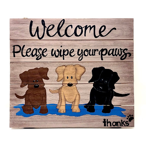 PLEASE WIPE YOUR PAWS SIGN