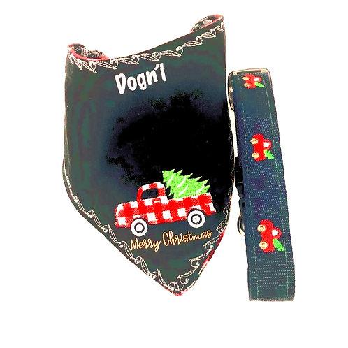 Xmas Pickup Truck Collar and Bandana