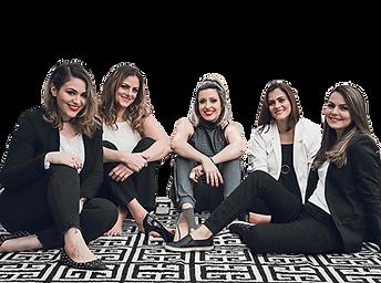 Time de sócias (Em ordem: Marina, Claudia, Sara, Fabiola e Kelly) INSIDE Arquitetura & Design