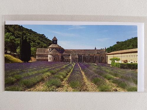 Fotokarte «Abbaye de Sénanque mit Lavendelfeld»
