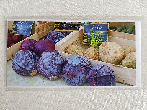 Fotokarte «Blaukabis und Sellerie auf dem Markt»