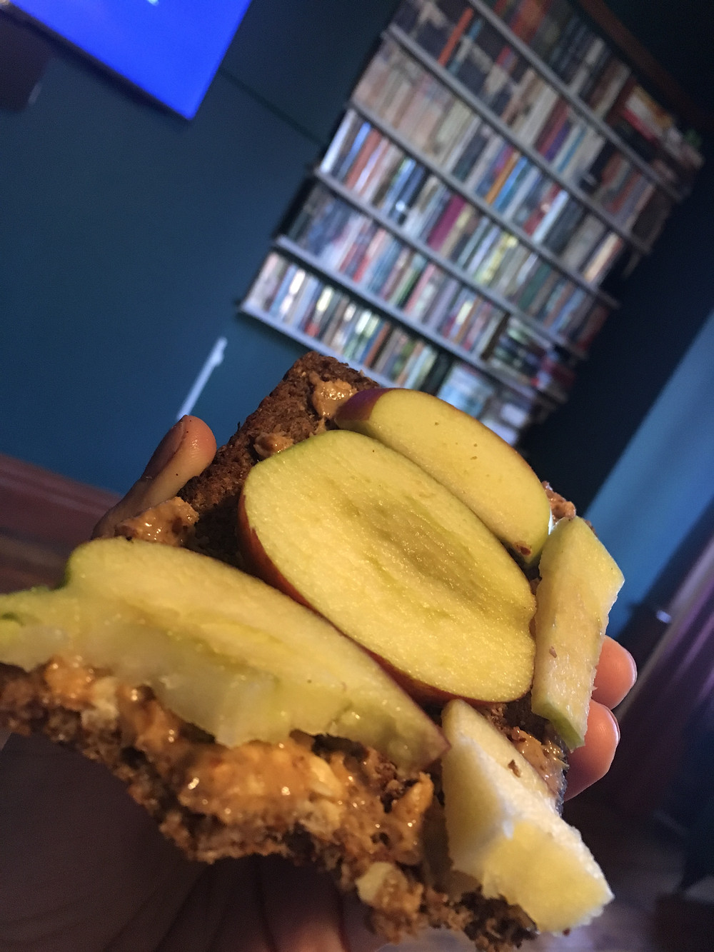 Peanut butter and apple on rye bread