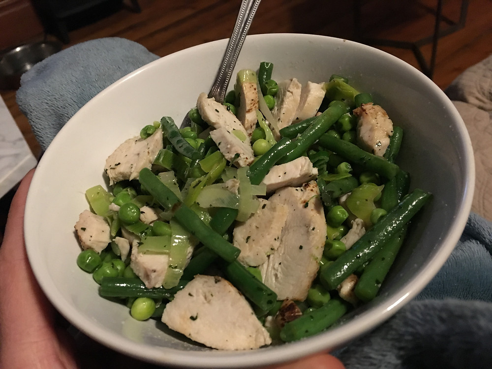 spring greens, chicken, coconut oil, lemon and herbs
