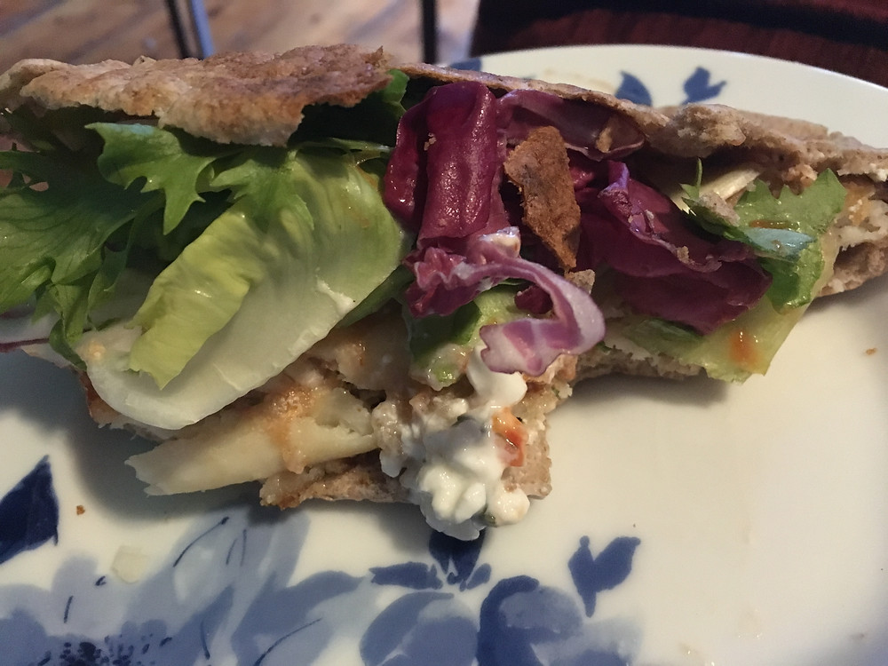 Mackerel, cottage cheese and salad pitta