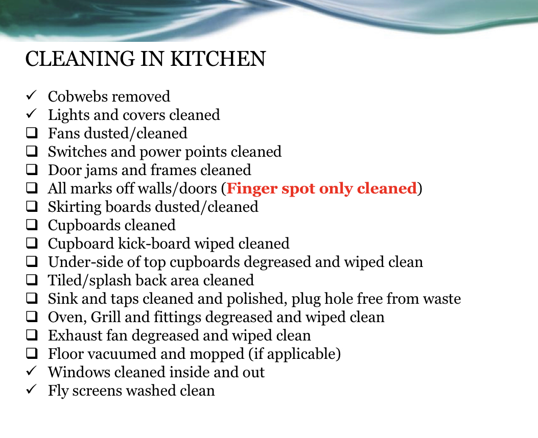 Inspection Cleaning list
